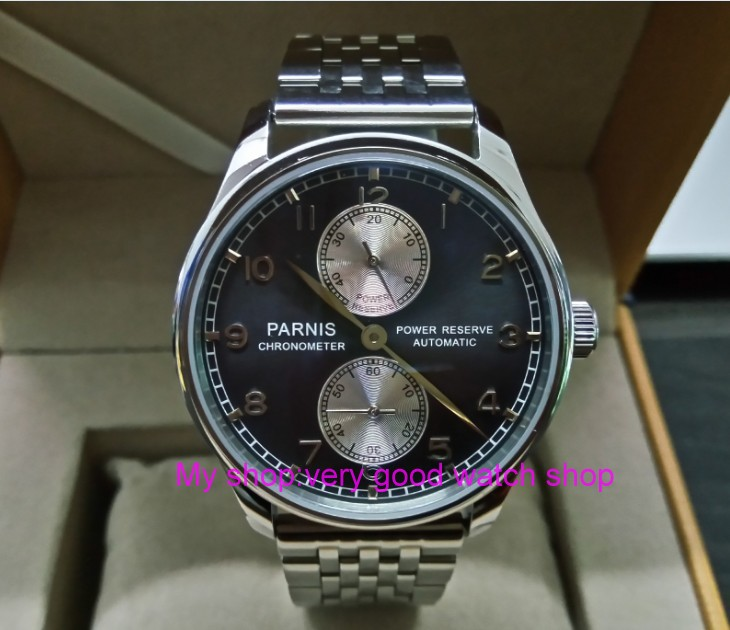 43mm PARNIS power reserve Automatic Self-Wind Mechanical movement men