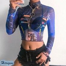 Summer Sexy Crop Tops 2019 New Women Long Sleeve High Neck Transparent Mesh Floral T-Shirts
