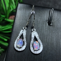 Natural opal studs 925 silver ear pendant simple classic style postage
