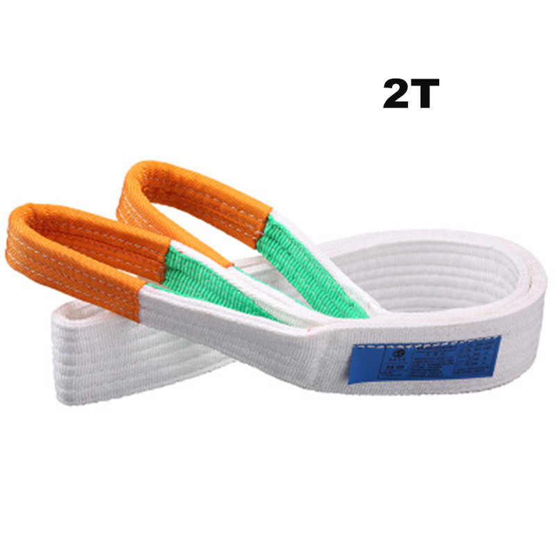 2T White Flat Lifting Webbing Sling Industrial High Strength Cargo Hoisting Belt Webbing Tape Belt Sling Fabric Strap
