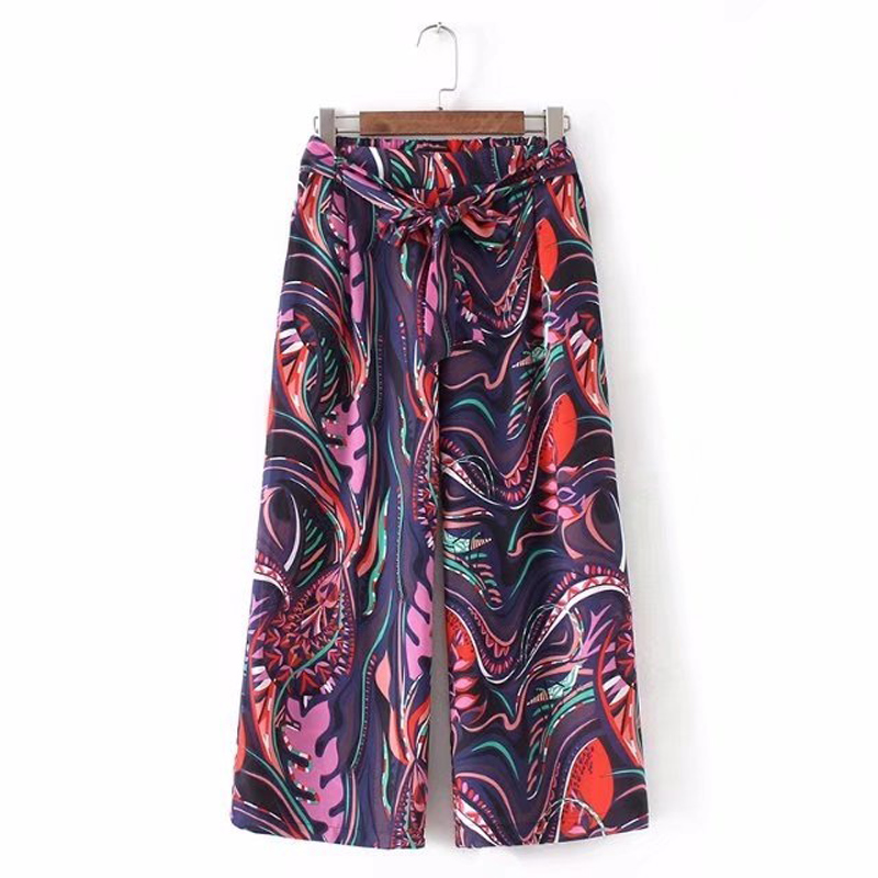 spring women's casual flower printing belt decorative   wide     leg     pants