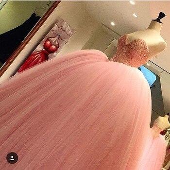 Color rosa vestido rosa vestidos largos de baile cariño princesa de encaje...