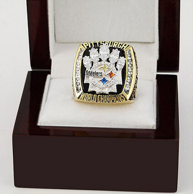Wholesale 2005 Pittsburgh Steelers Super Bowl Copper 24K gold Sports Replica world Championship Rings with Gorgeous Wooden Boxes