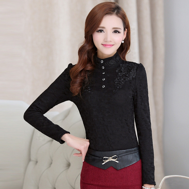 Women Bottoming Blouse Female High Collar Lace Shirt Long-sleeved Tops Plus Size 3XL 2