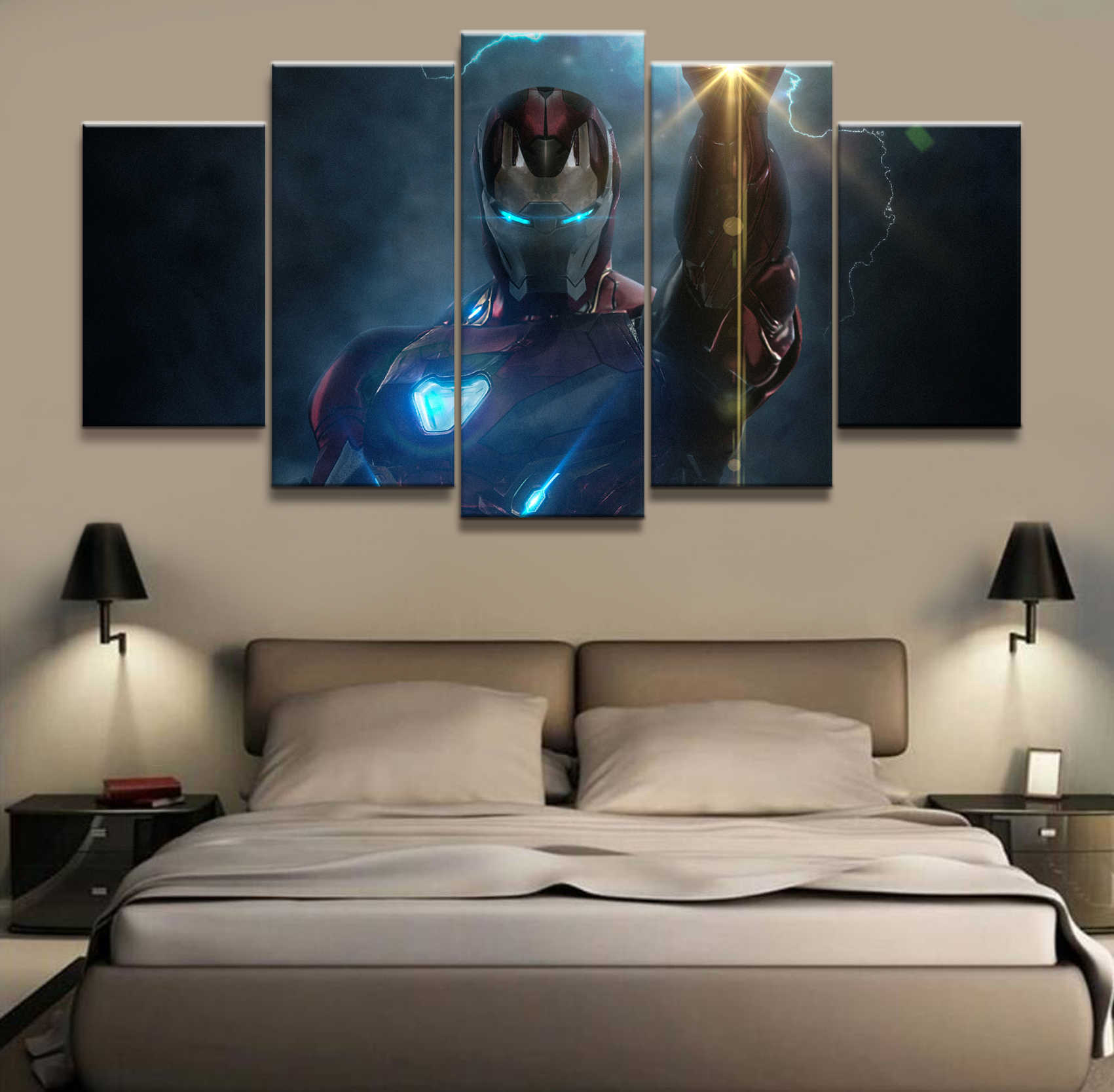 5 Piece Captain Iron Man Avengers Endgame Silk Films Art Posters and Footprints Painting Wall Decoration for Living Room Poster