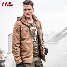 77City Killer Casual Multi Pockets Hoodies for Men 100% Cotton Tough Solid Jacket 2018 Winter New Frock Male Coat Outwear J9932