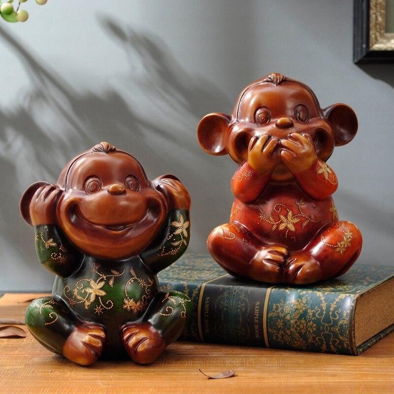 Européenne trois petit singe ornements mignon animal salon décoration Nouvel An Cadeau résine artisanat - 2