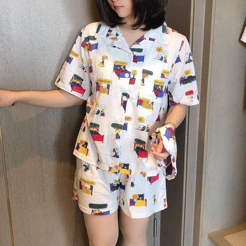 2019 Women   Pajama     Set   With Shorts Bangtan Kpop Cartoon Print Kawaii Pyjamas Korean Kawaii Pijama Mujer Cotton Sleeepwear