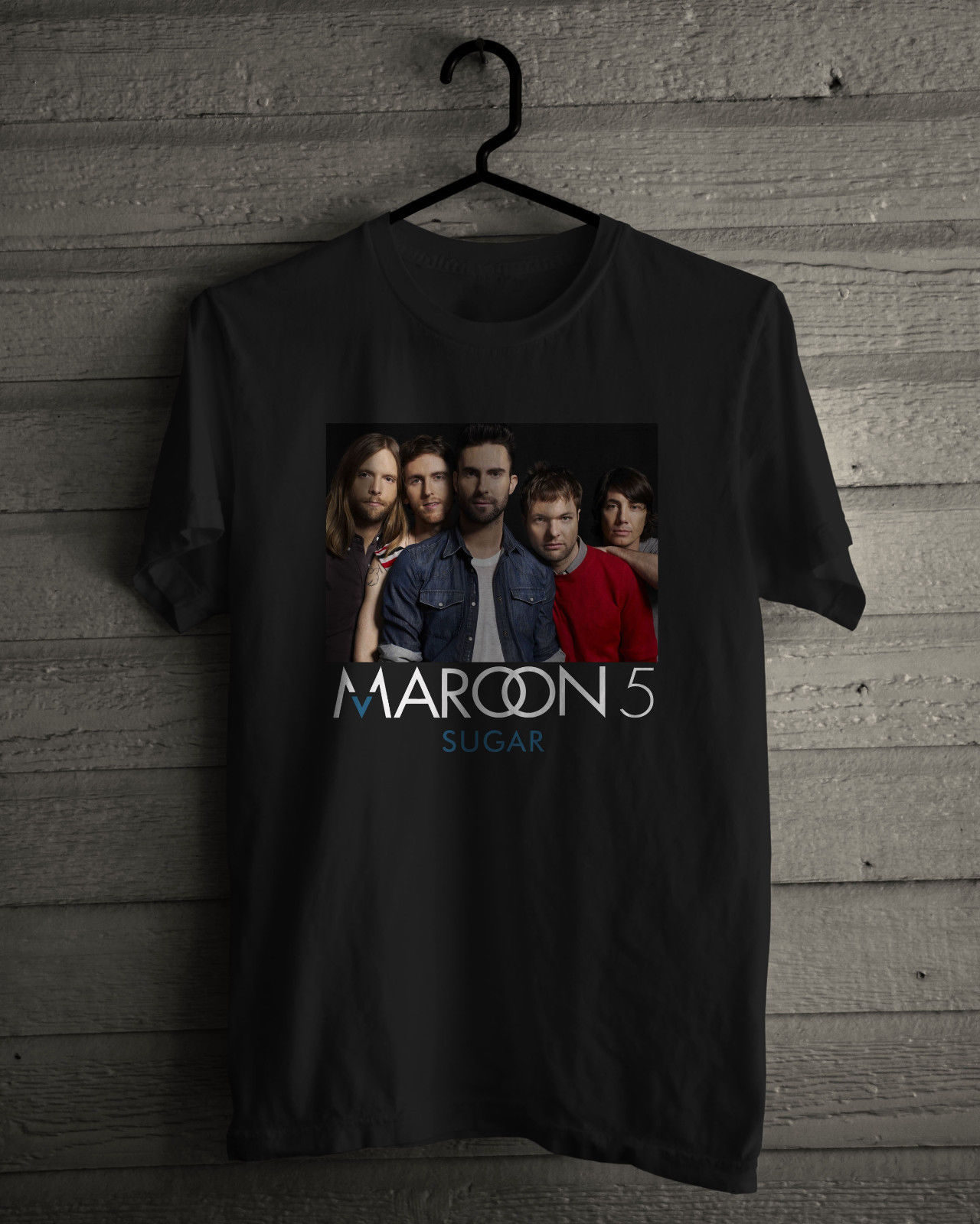 Maroon 5 T Shirt Aka KaraS Flowers American Pop Rock Band Sugar Black Tee