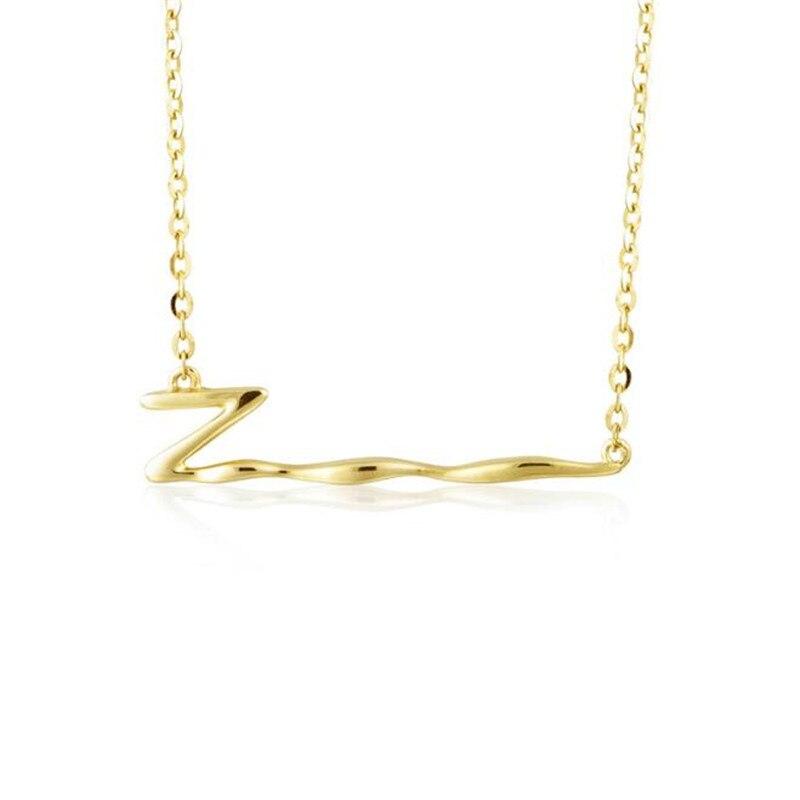 2018 femmes or jaune 18 K or bijoux pendentif collier danse lettre Z Alphabet Drop Dangle Choker 0 chaîne collier 1.41G