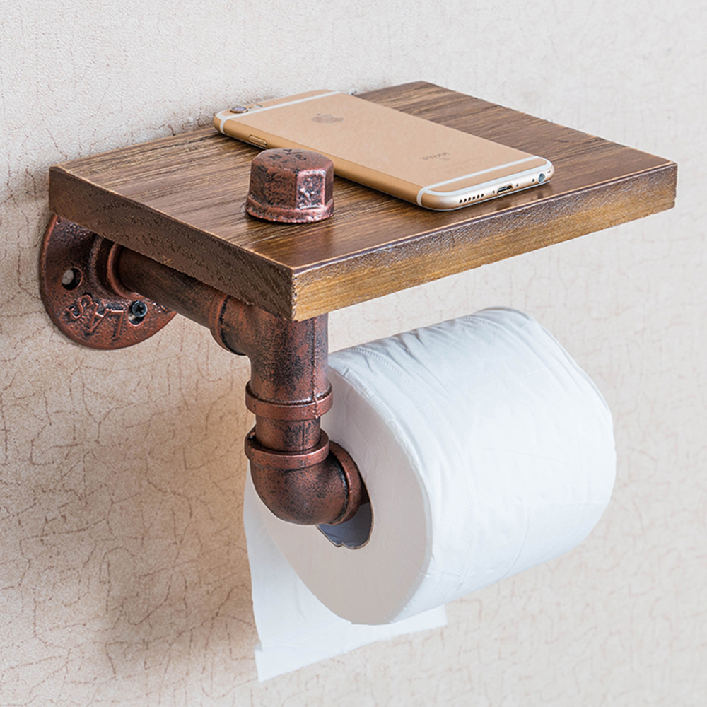 retro toilet wooden paper holder with phone shelf roll paper