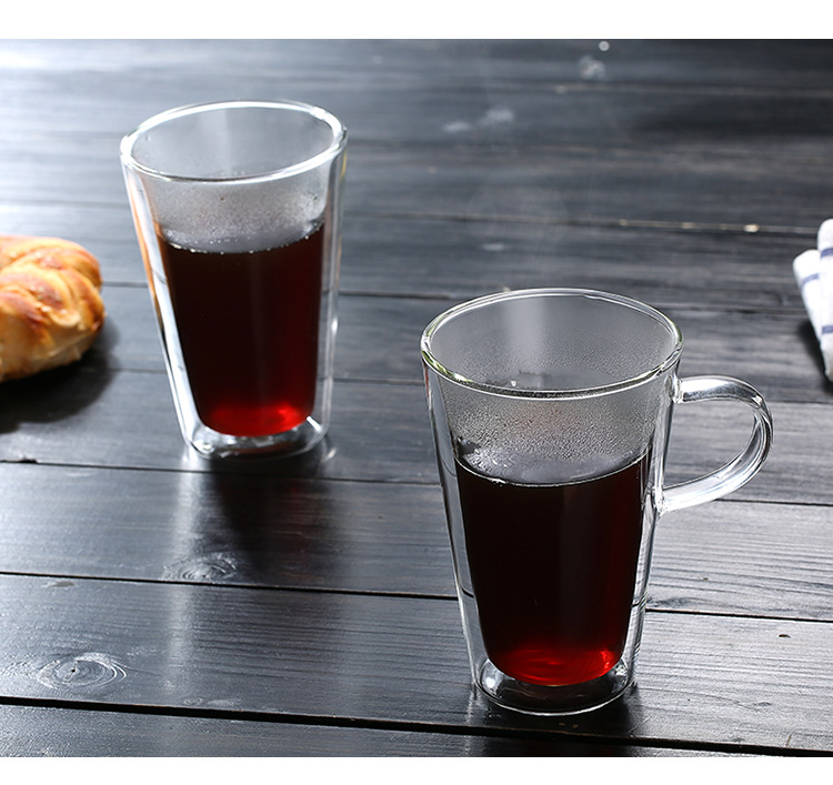 400ml Double Wall Glass Cup Clear Resistant Handmade Tea Mug Coffee Milk Juice Healthy Drink Double Layer Glass Mug in Transparent from Home Garden