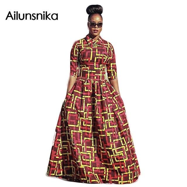 Ailunsnika 2017 nova chegada venda quente da primavera estilo nacional Africano grande shuttle tecido conjuntos de saia longa mulher impresso CM9661