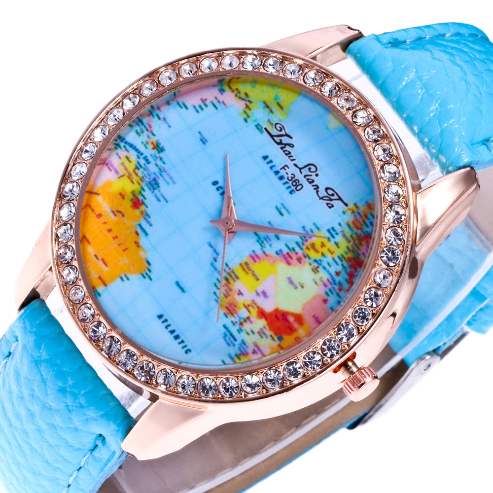 Women rhinestone lady watch world map quartz leather wrist watch women rhinestone lady watch world map quartz leather wrist watch round case luxury bracelet digital relogio feminino saat gift in womens watches from sciox Choice Image