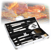 6pcs Stainless Steel BBQ Tool Set Barbecue Cooking Tools Kit with Metal Case DAG ship