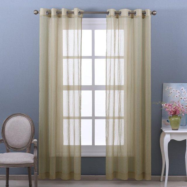nicetown 2 stuks klare crinkled voile gordijnen venster behandeling zachte pure gordijnen voor woonkamerbabykamer