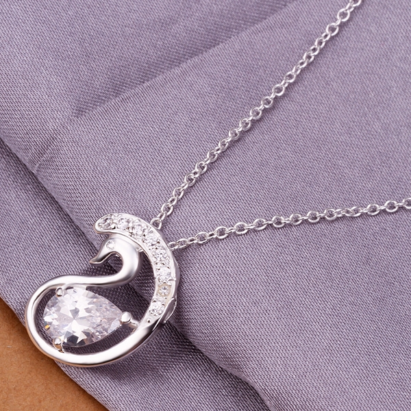 925 sterling silver jewelry fine fashion loverly Swan with big crystal stone pendant necklace for women girls wedding jewerly