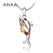 ANKA fashion crystal dolphin pendant necklace with snake copper chain jewelry Crystals from Swarovski gift for women 2017 #78901(China)