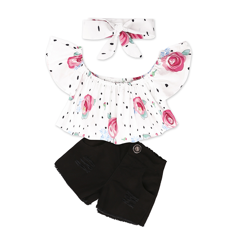 Children Sets for Girls Fashion 19 New Style Girls Suits for Children Girls T-shirt + Pants + Headband 3pcs. Suit ST307 136