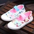 Meninas lona shoes crianças primavera moda sneaker rural flor shoes crianças princesa fundo macio casual shoes respirável a035