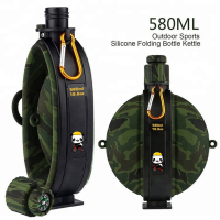 CAMO 07 Style Foldable Water Bottle Bag 580ml Large Outdoor Portable Food Grade Latex Cup with Compass for Hiking Running Trip