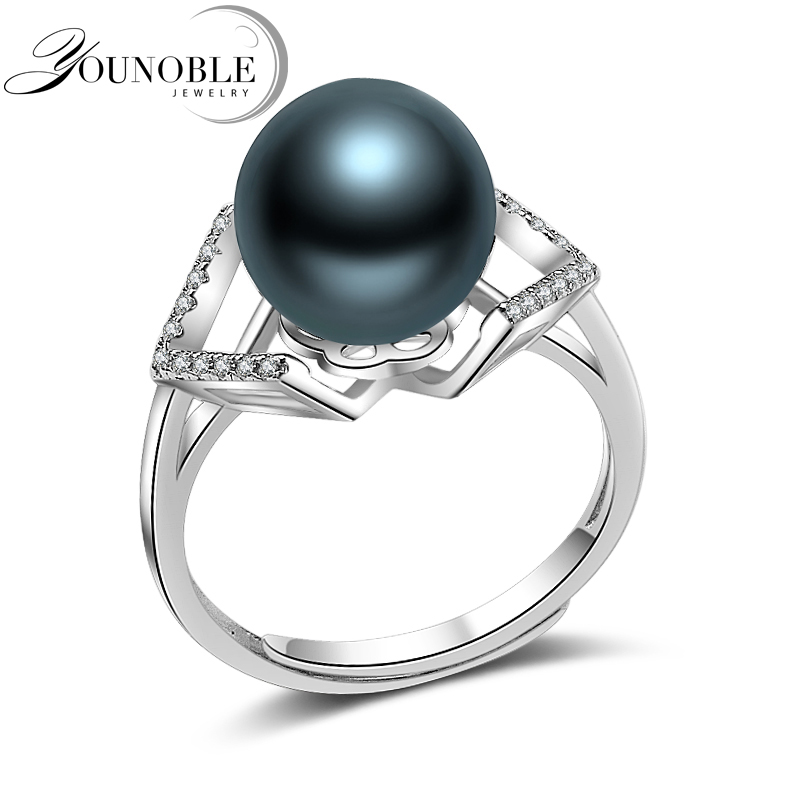 Black Pearl Rings,100% Real Round Natural Pearl Ring 925 Silver Jewelry Wife Anniversary Best Gift Wedding Accessories