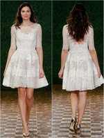 2019 New Fashionable Simple Short Lace A Line Backless Wedding Dresses Romantic Half Sleeve Vestido Modest Beach Robe De Mariage