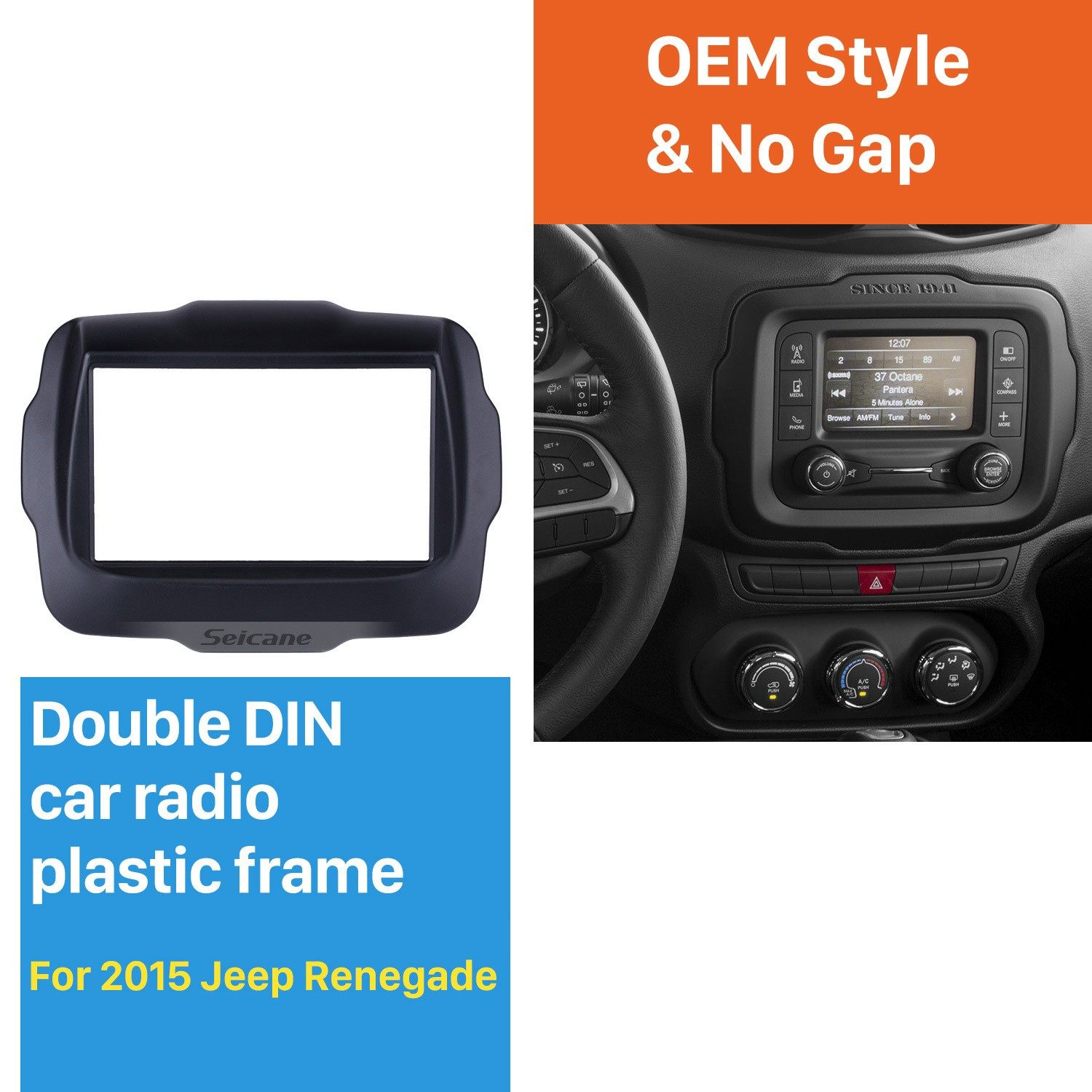 CTKJP01 Jeep Renegade Black Double Din Car Stereo Fascia Fitting Kit