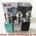 Newest100 % Ar 50 Minúsculo 50 W Caixa Mod Cigarro Eletrônico Smokjoy RTA Original Wotofo Serpente Mini Atomizador 3 ml Ecigs vaporizador AA