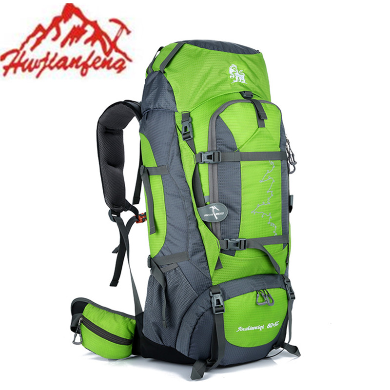 HUWAIJIANFENG 85L Outdoor Mountain Climbing Bags 2017 Waterproof Backpack travel camping Hiking backpacks Sports Bags with Stent blog flashlight outdoor 5led pocket strong waterproof 8 hours to illuminate mountain climbing camping p004