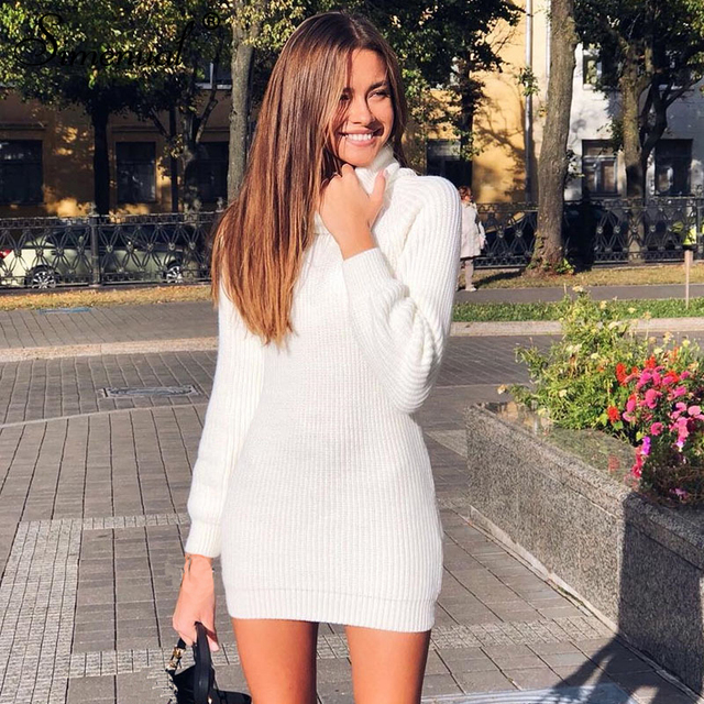 facc767ff Simenual Knitted turtleneck dresses long sleeve bodycon women winter  sweaters korean white dress spring 2019 fashion jumpers new