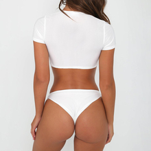 V Neck Short Sleeve Front Knotted Tie Push Up Bikini