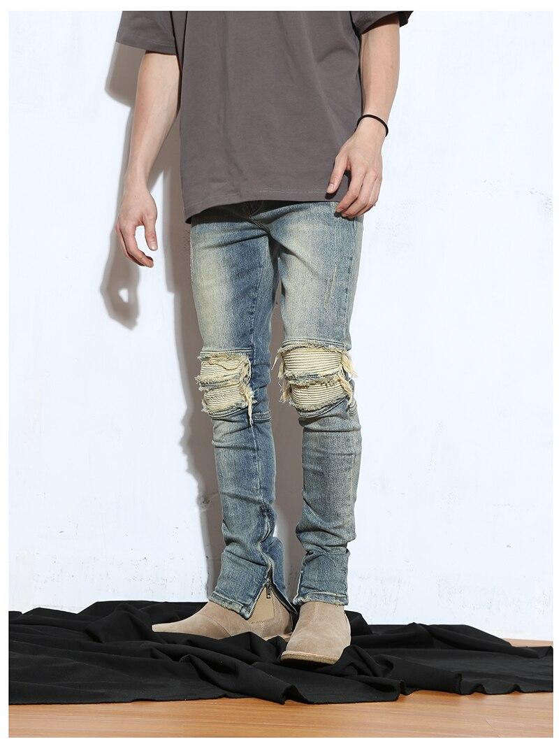 Dei Biker Jeans Zip Caviglie Streetwear Ginocchio Con Al Denim Moto Degli  Pantaloni Strappati Beige Blue Uomini Di Patchwork Jogger Hiphop tqYwgY f4bcc8b099ff