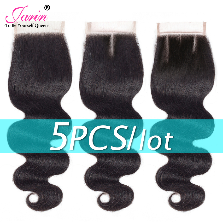 5 Pieces lot Body Wave Lace Closure 4x4 Inches Free Middle Three Part Brazilian Human Hair