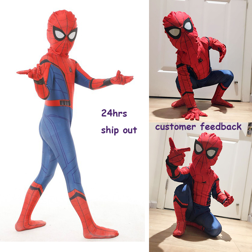free shipping kid spiderman civil war spiderman costumes spiderman cosplay custom suit halloween costume kid costumes for party
