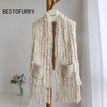 Women Casual Pockets Tassel Genuine Knitted Rabbit Fur Shawls Real Fur Capes Coats