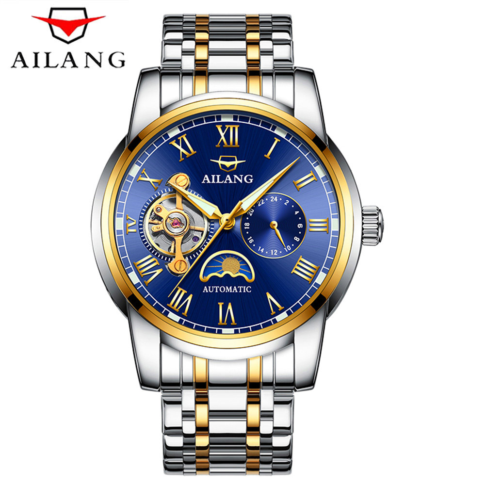 все цены на Relogio Masculino AILANG Men Watches Top Brand Luxury Automatic Mechanical Watch Men Full Steel Business Waterproof Sport Watch