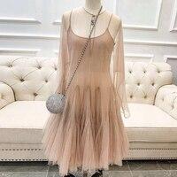 Милое Платье трапециевидной формы для женщин, платье с длинными рукавами для леди, новинка 2019 года, женское платье высокого качества