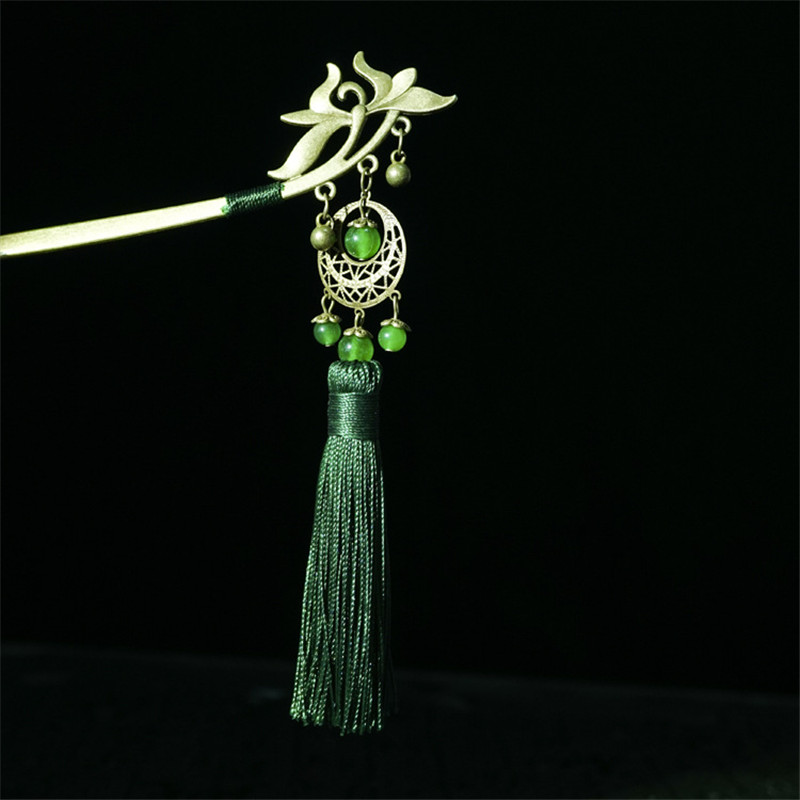 Hair Sticks For Women Vertical Clip New Arrival Retro Green Tassel Headwear Jewelry Accessories Wedding Decoration Tiara BF14