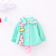 2016 Summer Jacket for Girls Infant Overall Print Abrigo Sweatshirt Hooded Outer