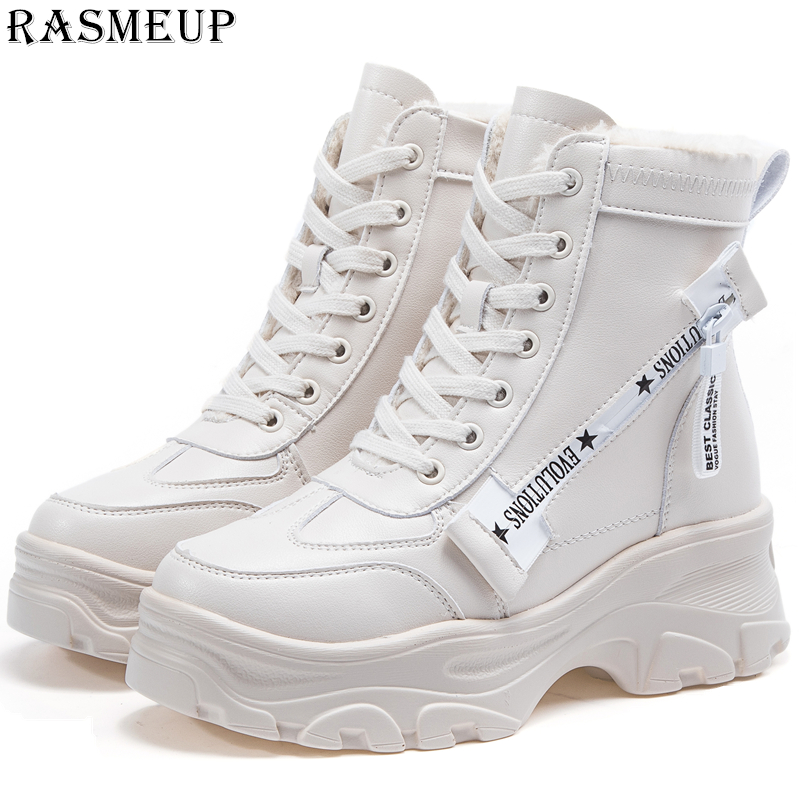 RASMEUP Leather Women s Chunky Boots Winter Thick Fur Warm Women Platform Sneakers 2018 Fashion Combat
