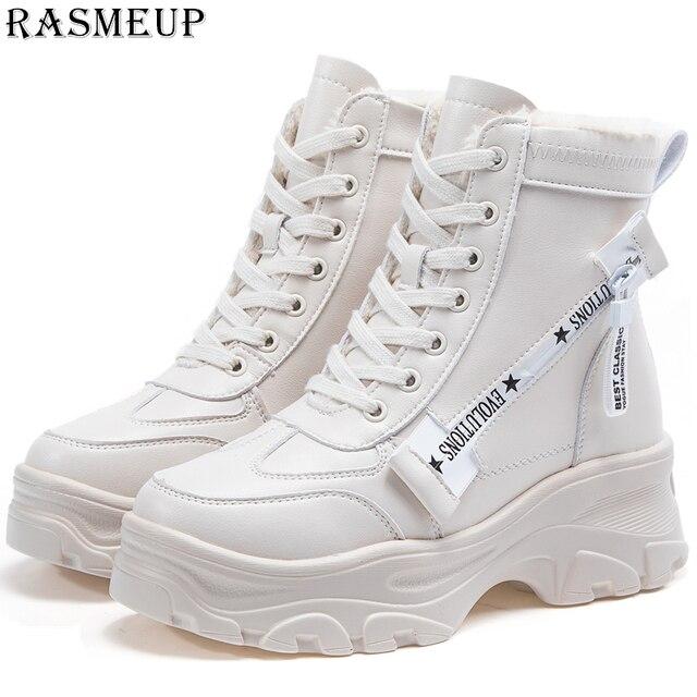 RASMEUP Da Nữ Chun Giày Mùa Đông Lông Dày Dặn Ấm Nữ Nền Tảng Giày Sneakers Thời Trang 2018 Chiến Đấu Giày Người Phụ Nữ Martin Giày