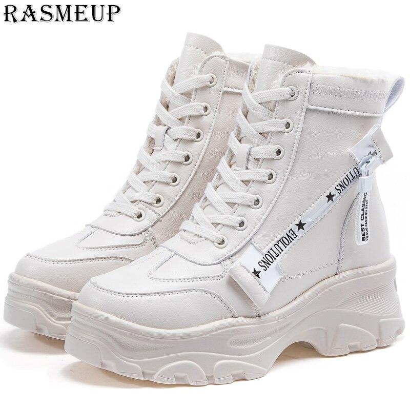 RASMEUP Leather Women's Chunky Boots Winter Thick Fur Warm Women Platform Sneakers 2019 Fashion Combat Boot Woman Martin Shoes