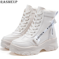 RASMEUP Leather Women's Chunky Boots Winter Thick Fur Warm Women Platform Sneakers 2018 Fashion Combat Boots Woman Martin Shoes
