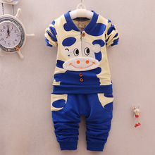 Children's cotton long sleeved clothes baby boy and girl clothing 2016 spring and Autumn coat pants two pieces clothing set