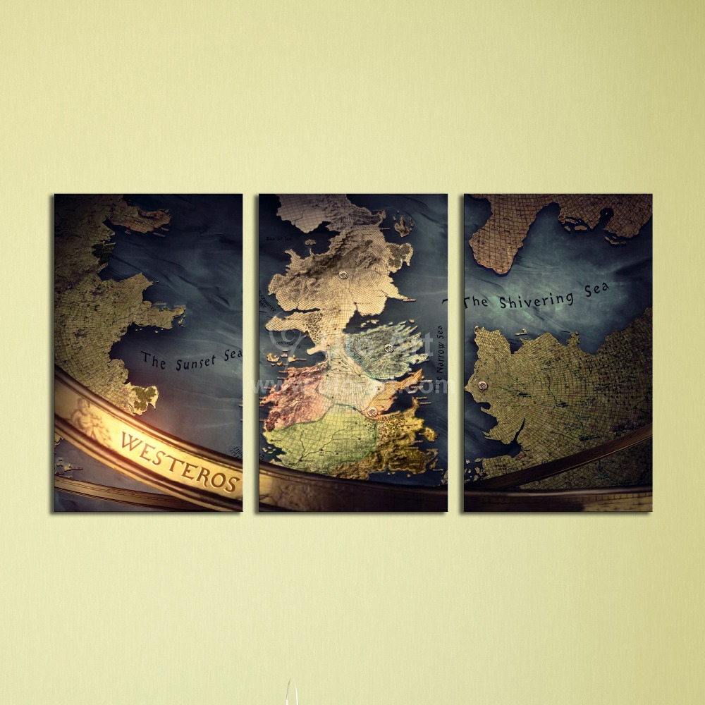 Guarantee Wall Decoration Pictures World Map Painting 3 Piece Canvas ...