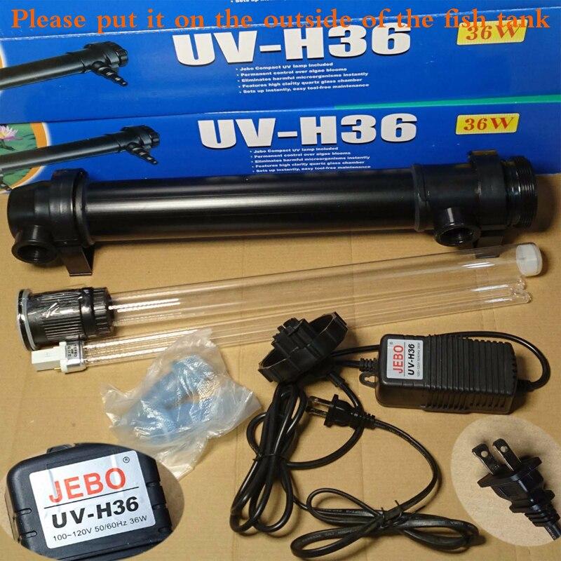 JEBO 220 V UV-H36 36 W UV Stérilisateur Lampe Lumière Ultraviolette Filtre Clarificateur D'eau Cleaner Pour Aquarium Étang Corail Koi Fish Tank