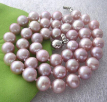 DYY+++816 charming 8-9mm AAA natural purple pearl necklace