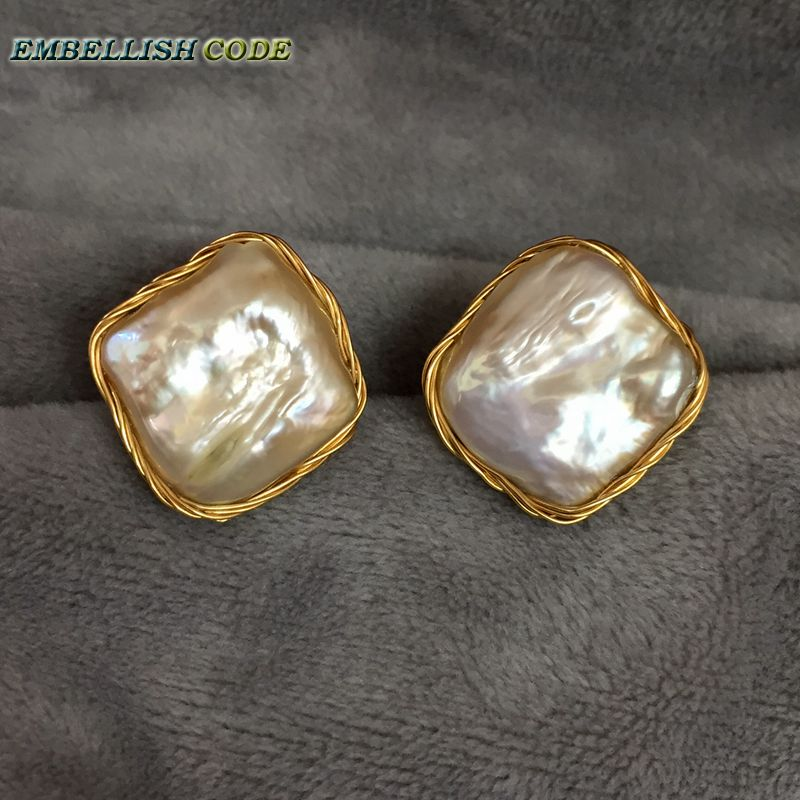 NEW Design Hand gray big size Baroque pearl golden color flat block square real