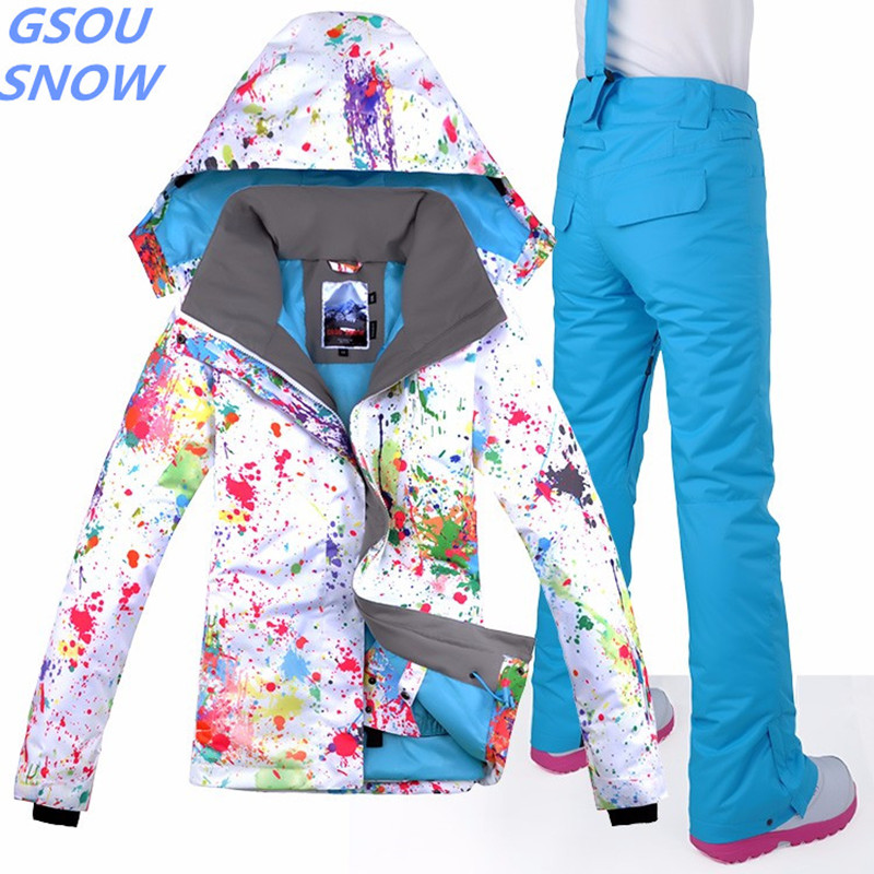 Gsou Snow High Quality For Women S Jacket Ski Suit Camp For Horse Riding Ski Sport Waterproof Windproof Snowboard Jacket + Pants